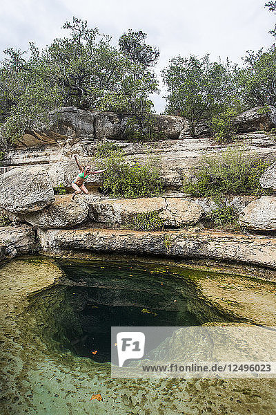 Jacob's Well near Wimberley  Texas is a unique geological feature and a great way to pass a hot summer day in Texas.