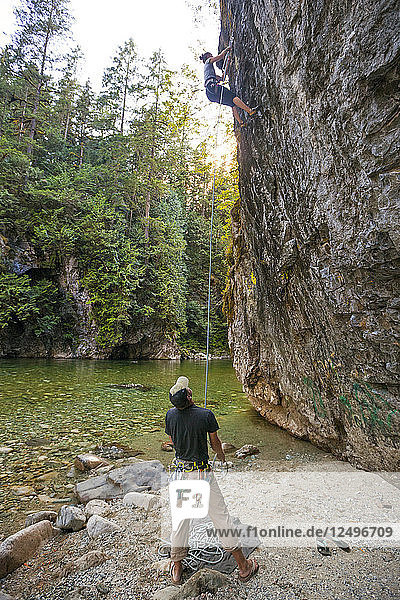Climbing Beside The Chehalis River In British Columbia  Canada