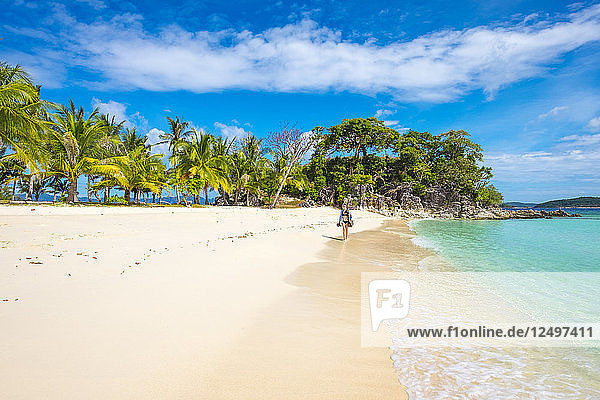 White sand beach on Malcapuya Island  Culion  Palawan  Philippines