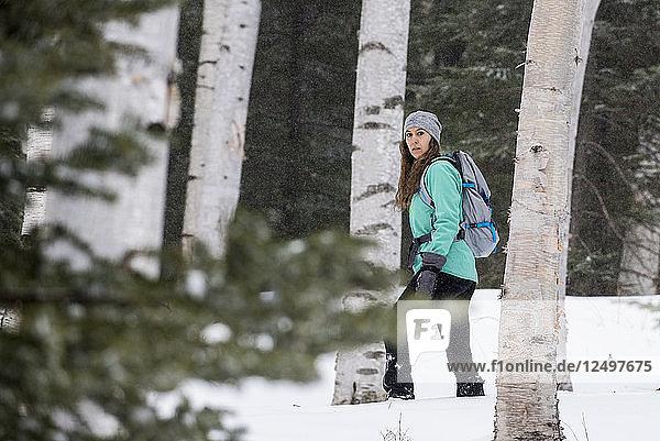 Woman hiker walking through woods in winter