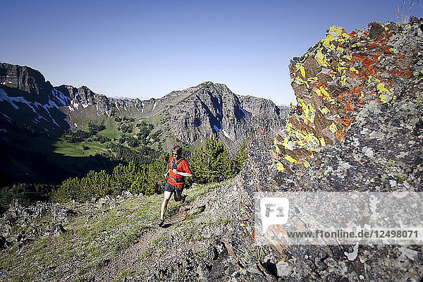 Man trail running the Mount Blackmore trail in Hyalite Canyon in Bozeman  Montana.
