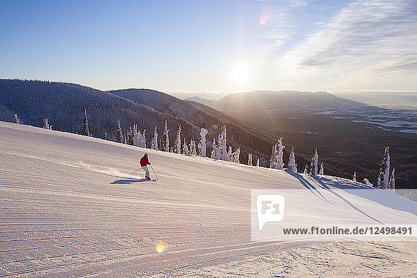 Female Skier Skiing On Snowy Landscape In Whitefish  Montana  Usa