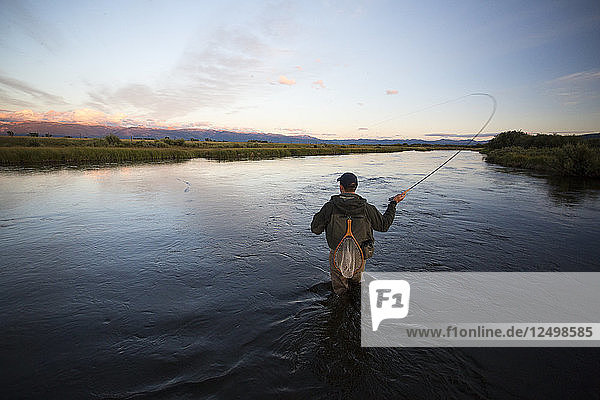 Fly Fishing on the Teton River outside of Driggs Idaho at sunset