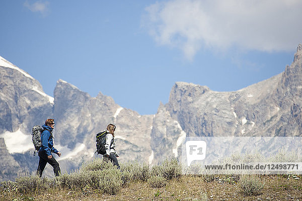 Couple hiking in mountains Jackson  WY