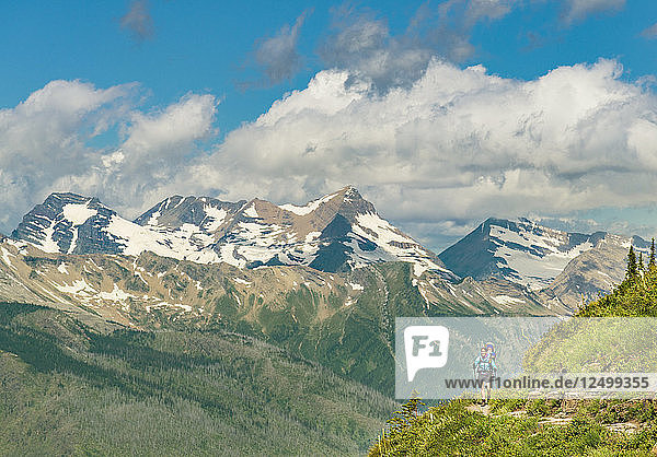 Women And Child Hiking On The Highline Trail In Glacier National Park  Montana  Usa
