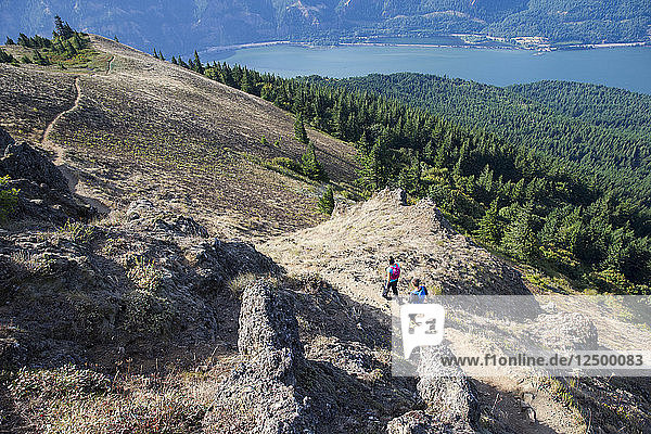 A couple enjoying a hike outside of Hood River  OR