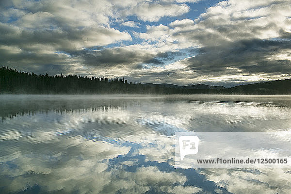 Stratocumulus Clouds During Sunrise Over Stanley Lake  Idaho