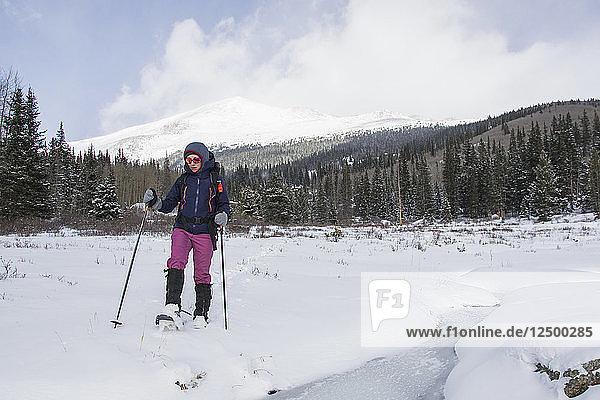 Snowshoeing across a frozen meadow with Mt. Bierdstadt in the background.