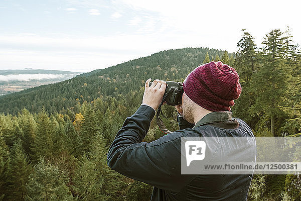 Photographer Taking Pictures In The Thurston Hills Natural Area In Springfield Oregon