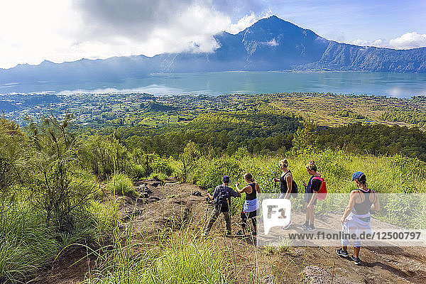 People Hiking In The Mountains Of Bali Islands  Indonesia