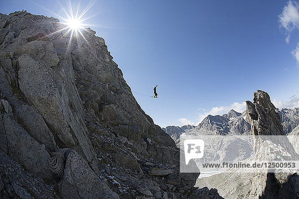 Alpine Highline Project in the Swiss Alps above the Monte Forno glacier.