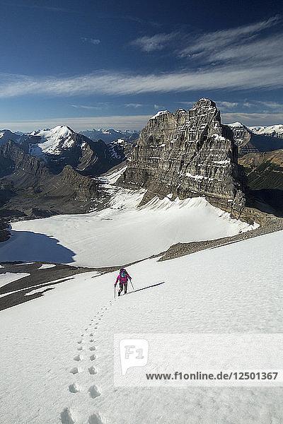 Hikers Exploring Cirrus Mountain In Alberta  Canada