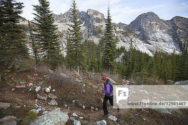 A Woman Trail Running In The Drinnon Pass Area Of Valhalla Provincial Park  Canada