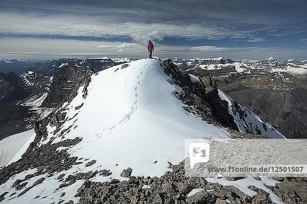 Person Hiking On Summit Of Cirrus Mountain In Alberta  Canada