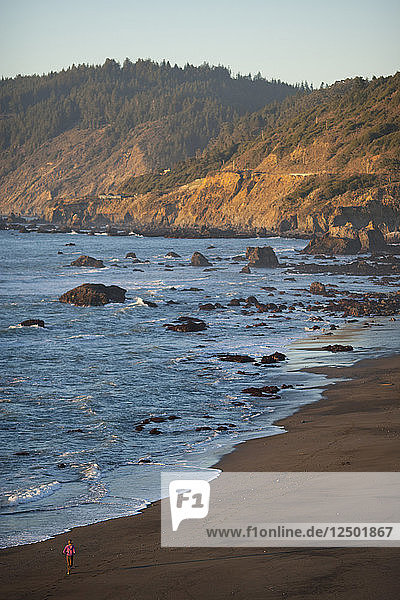 A Woman Running Along The Rocky Coastline Of Northern California