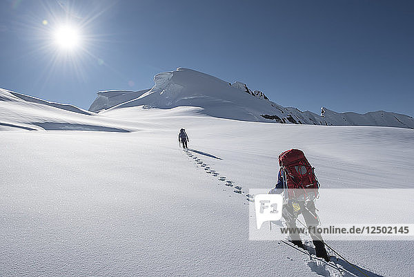 Climbers On Summit Of Explorers Peak In Denali National Park  Alaska