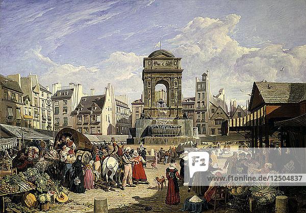 Market and Fountain of the Innocents  Paris  1823. Artist: John James Chalon