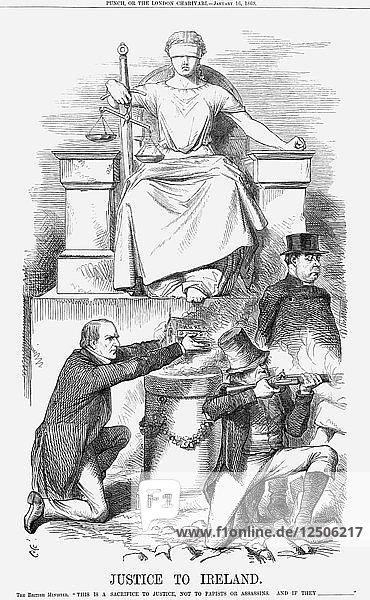Justice to Ireland  1869. Artist: John Tenniel