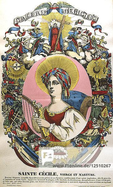 St Cecilia or Cecile  legendary Roman martyr  19th century. Artist: Anon