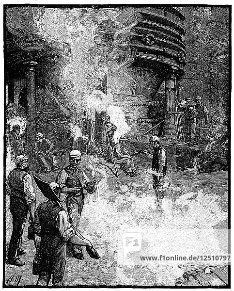 Tapping blast furnace  and casting iron into pigs  Siemens iron and steel works  Wales  1885. Artist: Unknown