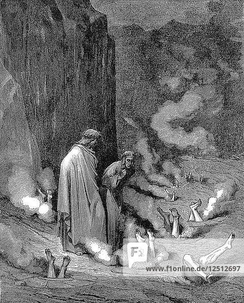 Dante and Virgil in the inferno  1863. Artist: Gustave Doré