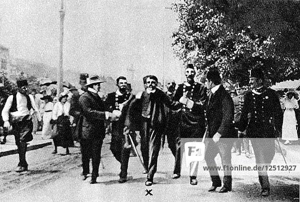 Arrest of Gavrilo Princip  assassin of Archduke Franz Ferdinand  1914. Artist: Unknown