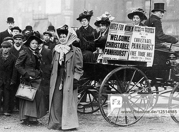 Christabel Pankhurst with a group of suffragettes  London  1909. Artist: Unknown