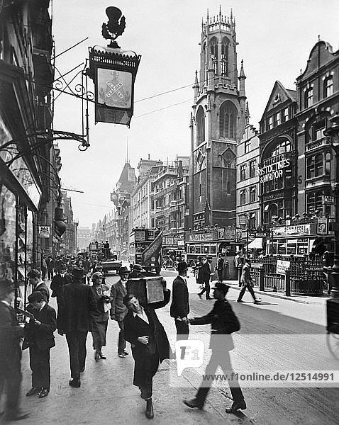 Fleet Street looking west  City of London  1920s. Artist: George Davison Reid