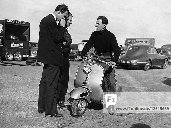 Stirling Moss on a Vespa scooter  Goodwood  April 1952. Artist: Unknown