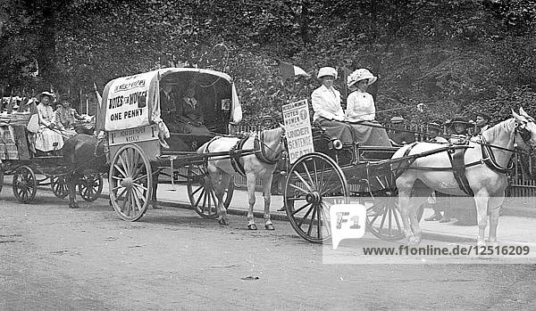 Press Carts delivering Votes for Women in central London  July 1911. Artist: Unknown
