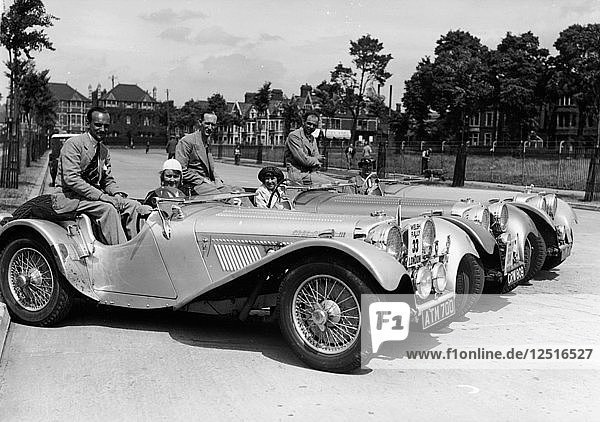 1937 Jaguar SS100 2 1/2 litre team on Welsh rally  1937. Artist: Unknown
