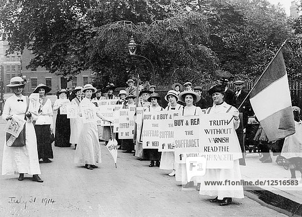 Suffragettes on a poster parade selling the Suffragette  31st July  1914. Artist: Unknown