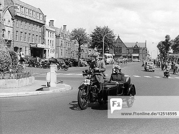 1922 Bradbury motorbike and sidecar  1955. Artist: Unknown