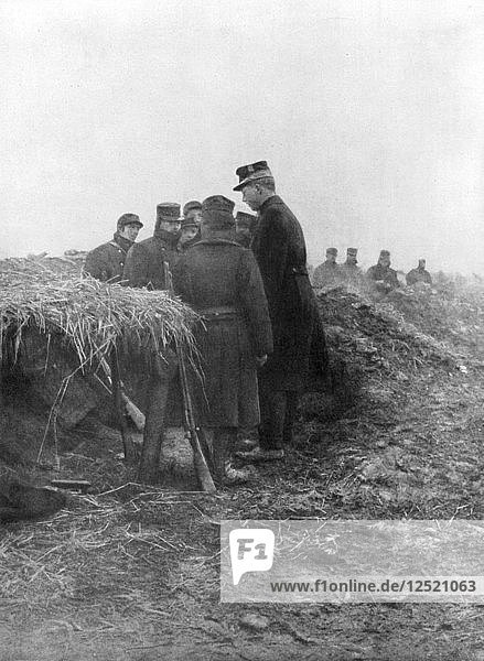 Albert I  the third King of the Belgians  visiting the trenches of Avecapelle  Belgium  1915. Artist: Unknown