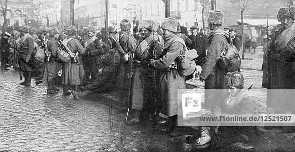 Russian Siberian infantry troops in Warsaw  Poland  1914. Artist: Unknown