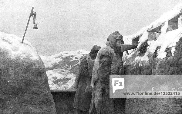 Sentries in a trench looking out over no-mans-land  Pas-de-Calais  France  winter  1915. Artist: Unknown