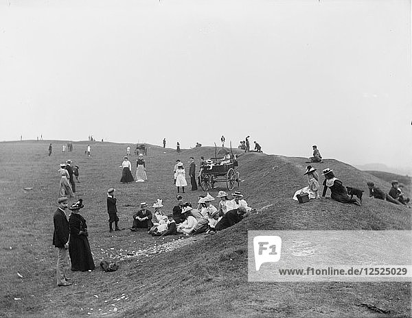 Picnickers enjoying a bank holiday lunch  Uffington Castle  Oxfordshire  1900. Artist: Henry Taunt