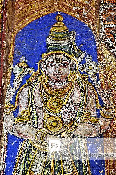 Wall painting of Vishnu  Sri Ranganathaswamy Hindu Temple  Srirangam  Tamil Nadu  India. Artist: Unknown