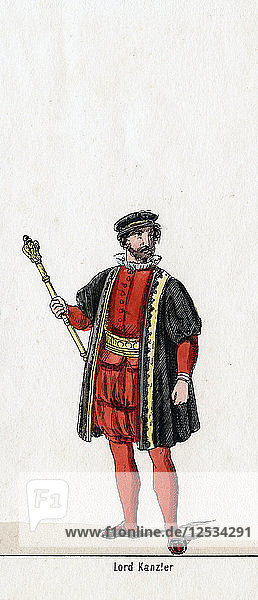 Lord Chancellor  costume design for Shakespeares play  Henry VIII  19th century. Artist: Unknown