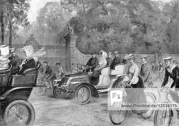Motors and cycles in Kensington High Street  London  1903. Artist: Percy Spence