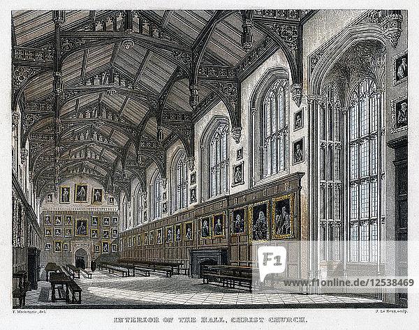 Interior of Christ Church Hall  Oxford University  c1830s. Artist: JH Le Keux.