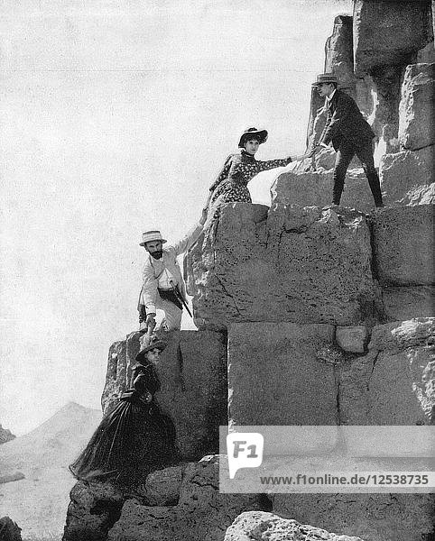 Climbing The Great Pyramid  Egypt  late 19th century. Artist: John L Stoddard