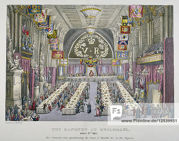 Banquet in the Guildhall in honour of Queen Victoria  City of London  1837. Artist: Anon