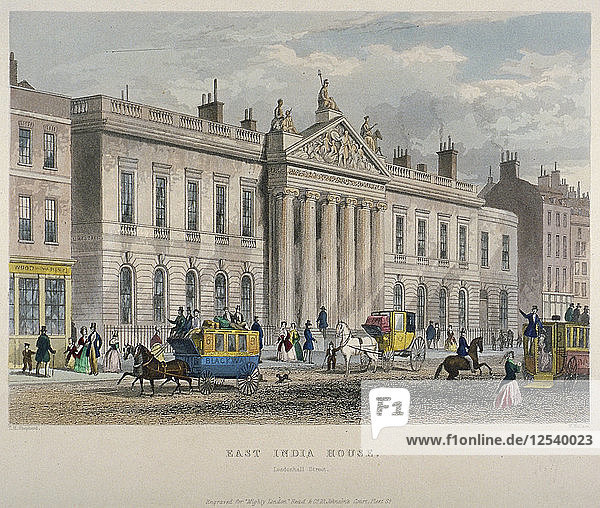 North view of East India House  Leadenhall Street  City of London  1850. Artist: Sir William Wallace