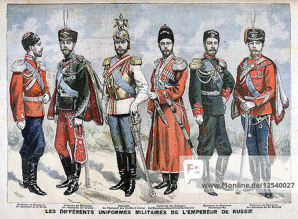 Different Russian military uniforms of the Emperor  1896. Artist: Unknown