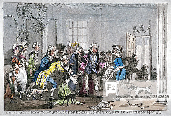 'Hospitality kicking Avarice out of doors; or  new tenants at the Mansion House  1799. Artist: Anon'