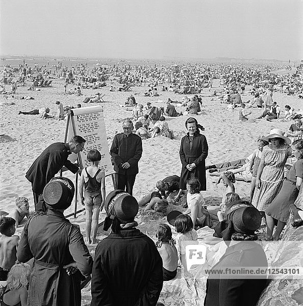The Salvation Army runs a childrens beach mission on the sand  Blackpool  c1946-c1955. Artist: John Gay
