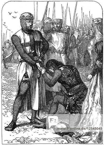 Queen Eleanor intercedes for John. Artist: Unknown
