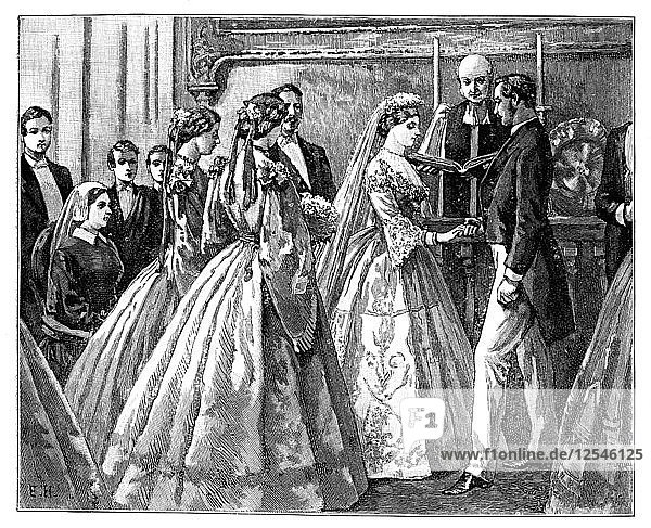 Marriage of the Princess Alice and Ludwig IV  Grand Duke of Hesse  1 July 1862 (late 19th century). Artist: Unknown