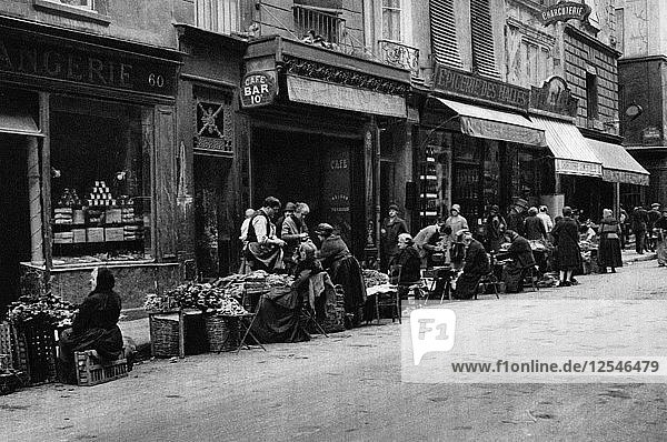 Vegetable sellers in the Central Market quarter  Paris  1931.Artist: Ernest Flammarion
